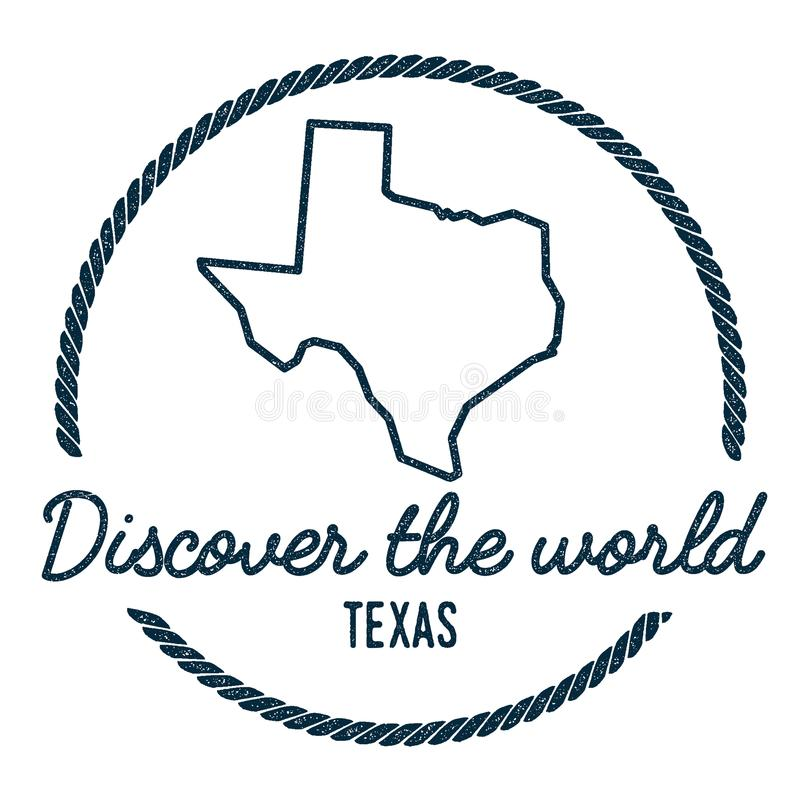 Texas Map Outline. Vintage Discover the World. Texas Map Outline. Vintage Discover the World Rubber Stamp with Texas Map. Hipster Style Nautical Rubber Stamp royalty free illustration