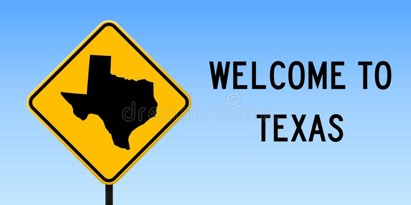 Texas map on road sign. Wide poster with Texas us state map on yellow rhomb road sign. Vector illustration vector illustration
