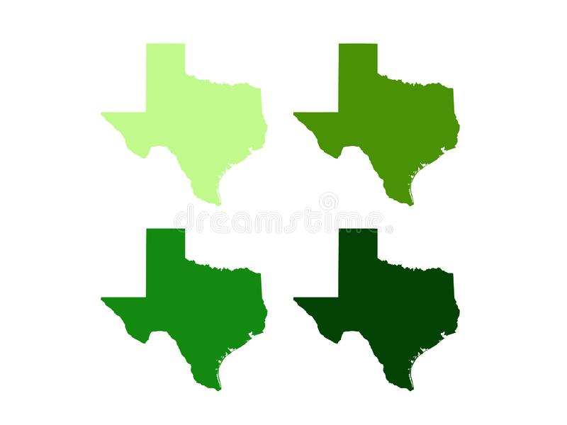 Texas map - the second largest state in the United States. Vector file of Texas map - the second largest state in the United States stock illustration