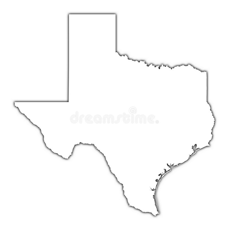 Texas map with shadow vector illustration