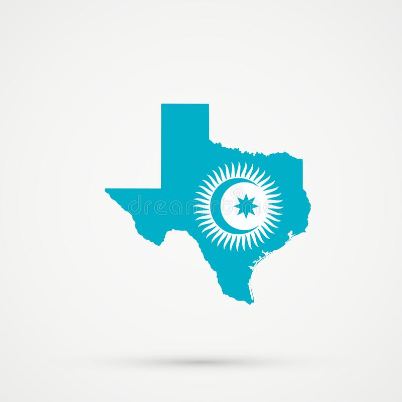 Texas map in Turkic Council flag colors, editable vector.  vector illustration