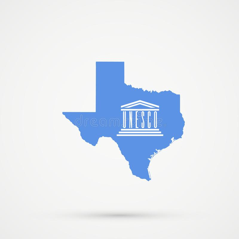 Texas map in United Nations Educational, Scientific and Cultural Organization UNESCO flag colors, editable vector stock illustration