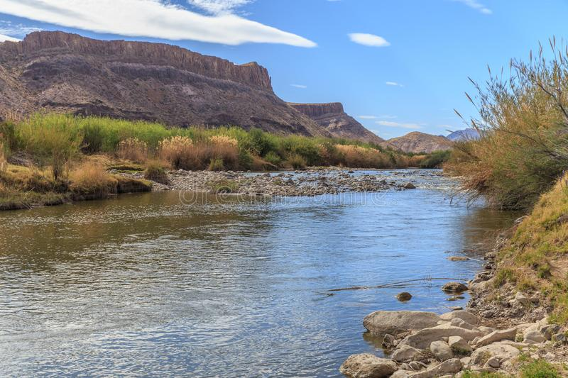 The Texas Mexico Border. The Rio Grande River on the Texas Mexico Border by Big Bend National Park and Big Bend Ranch State park royalty free stock photography