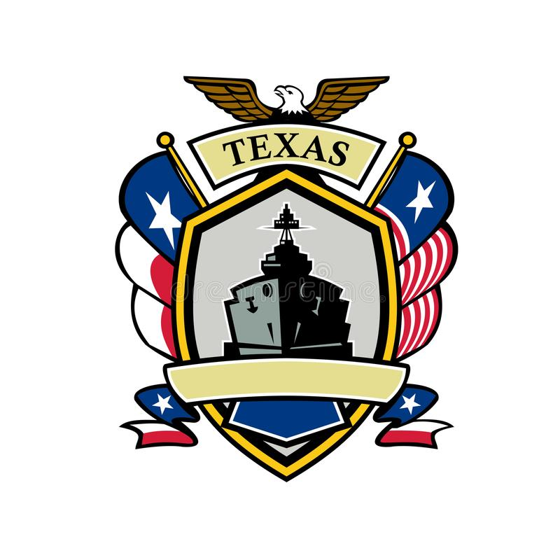 Texas Navy Battleship Flag Icon vector illustratie