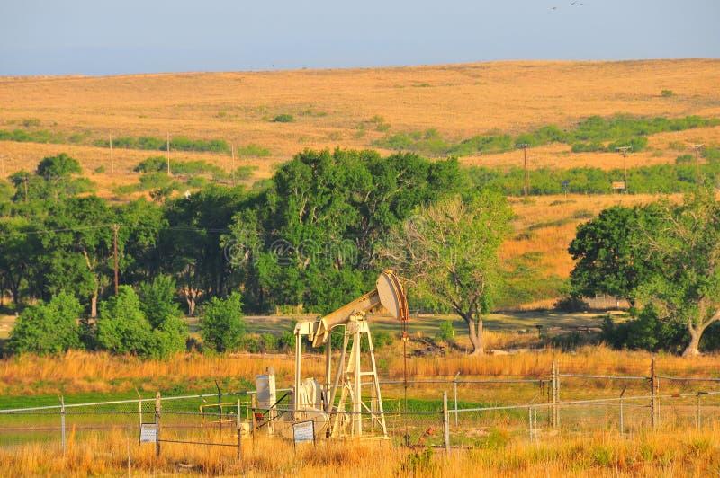 Texas Oil Well con el cielo azul y las ondas de oro de Grassess nativo imagen de archivo