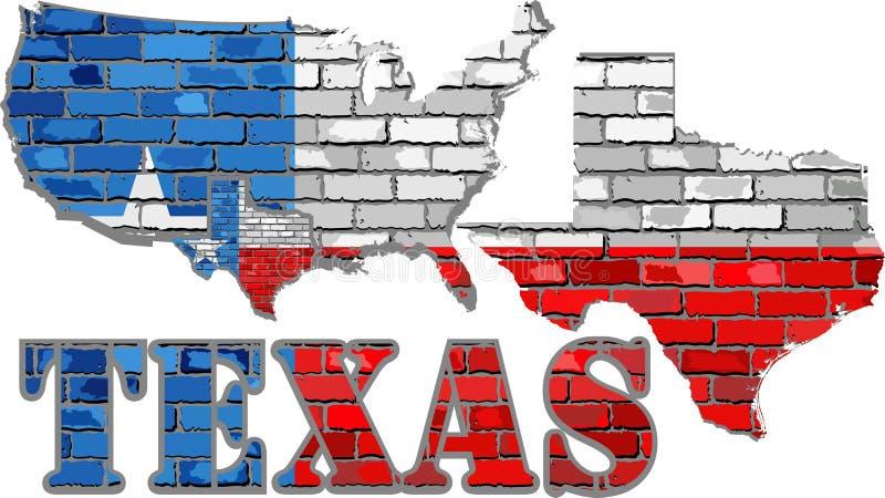 Texas op een bakstenen muur stock illustratie