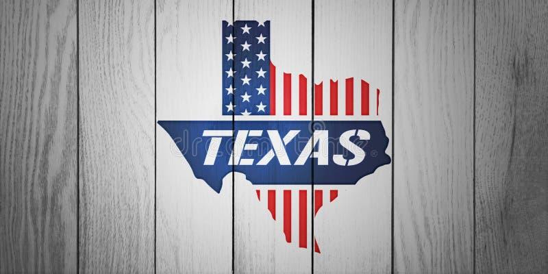 Texas Patriotic Map i det texturerade vita Wood brädet vektor illustrationer