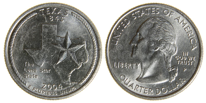 Texas Quarter. Both sides of an 2004 US quarter featuring the state of Texas, isolated on a white background stock images