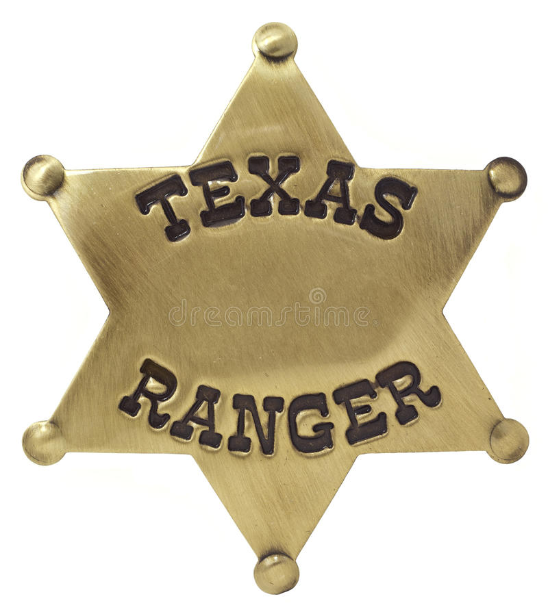 Texas Ranger Badge. A gold Texas Ranger badge isolated on white with a blank middle for adding your own copy royalty free stock photos
