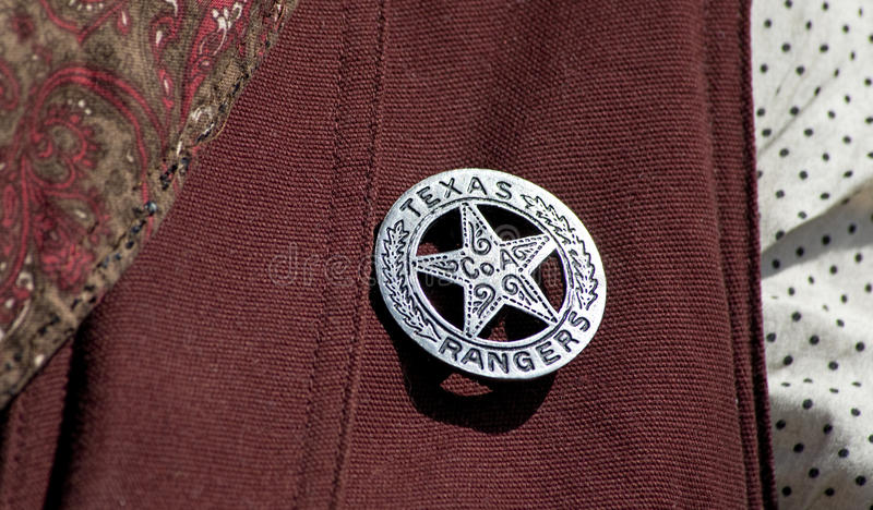 Texas Ranger Badge. Old Texas ranger cowboy badge stock photos