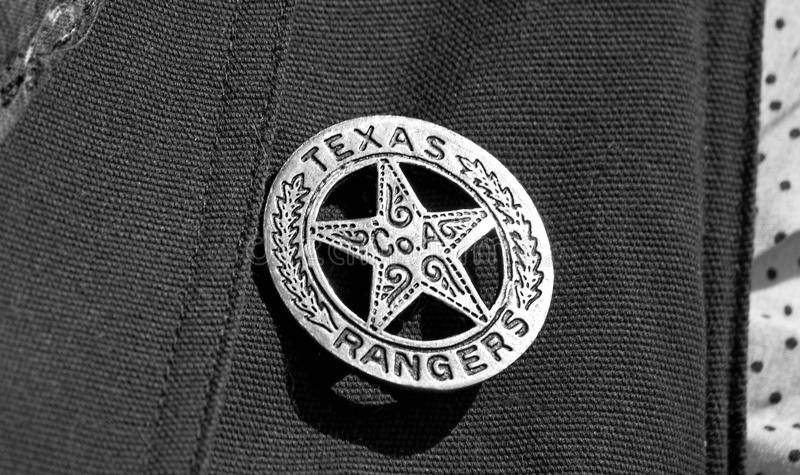Texas Ranger Badge. Old Texas ranger cowboy badge in black and white royalty free stock image