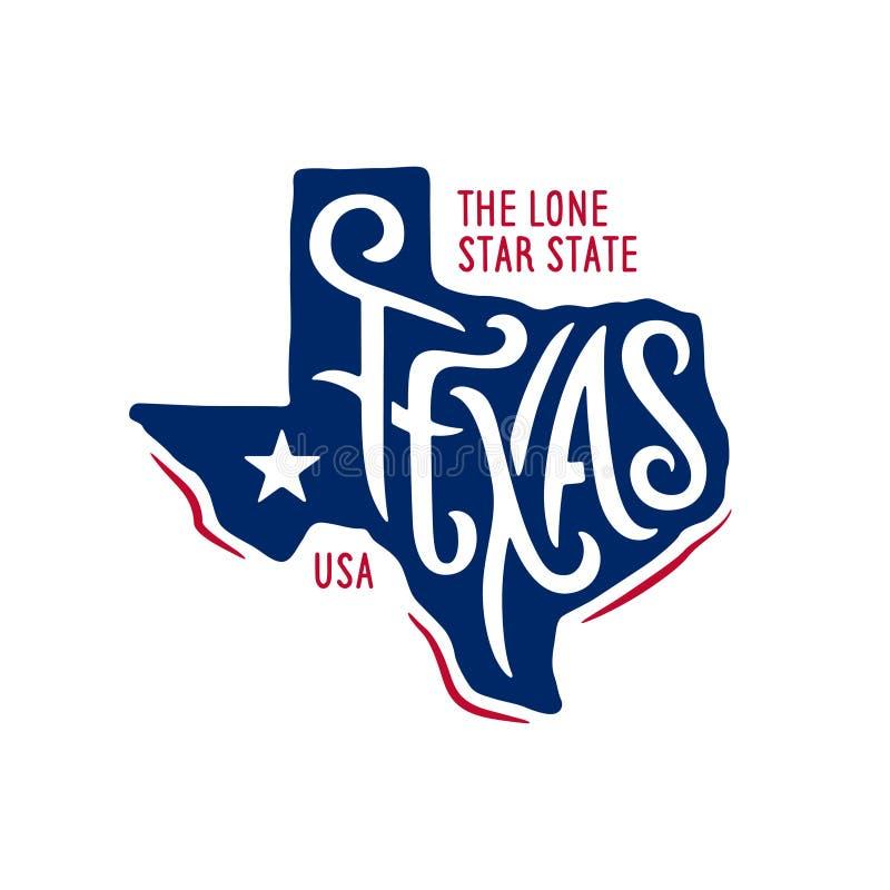 Texas relacionou o projeto do t-shirt o estado solitário da estrela Ilustração do vetor do vintage ilustração royalty free