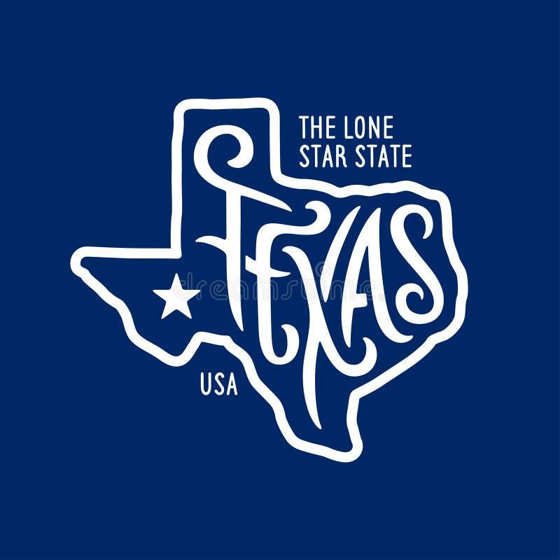 Texas relacionou o projeto do t-shirt o estado solitário da estrela Ilustração do vetor do vintage ilustração do vetor