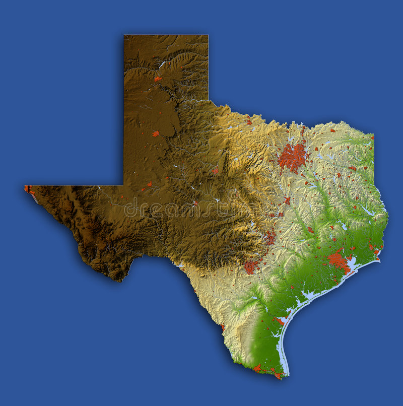 Texas, relief map. Texas. Shaded relief map. Shows surrounding ocean, major urban areas and rivers, embossed on blue background. Colored according to relative vector illustration