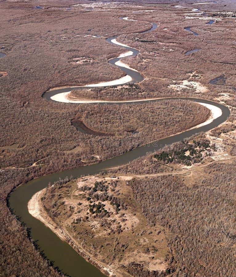 Texas River, visión aérea los E.E.U.U. fotografía de archivo