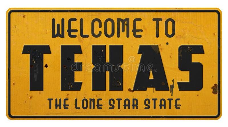 Texas Road Sign Welcome till Texas Grunge royaltyfria bilder