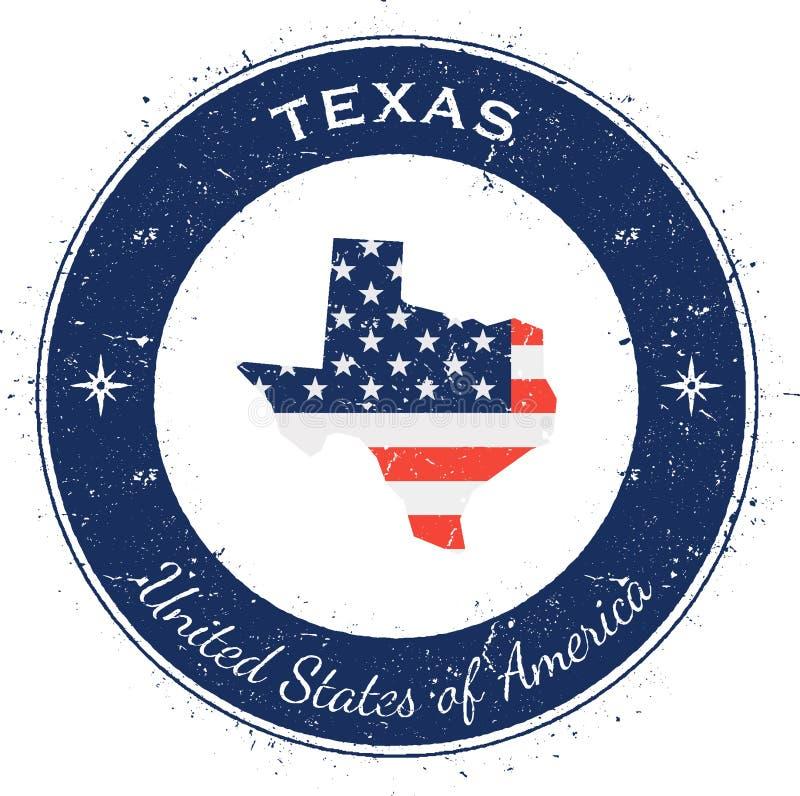 Texas runt patriotiskt emblem vektor illustrationer
