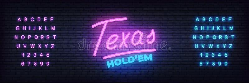 Texas rymmer dem neontecknet Glöda märka mallen för pokerklubba royaltyfri illustrationer