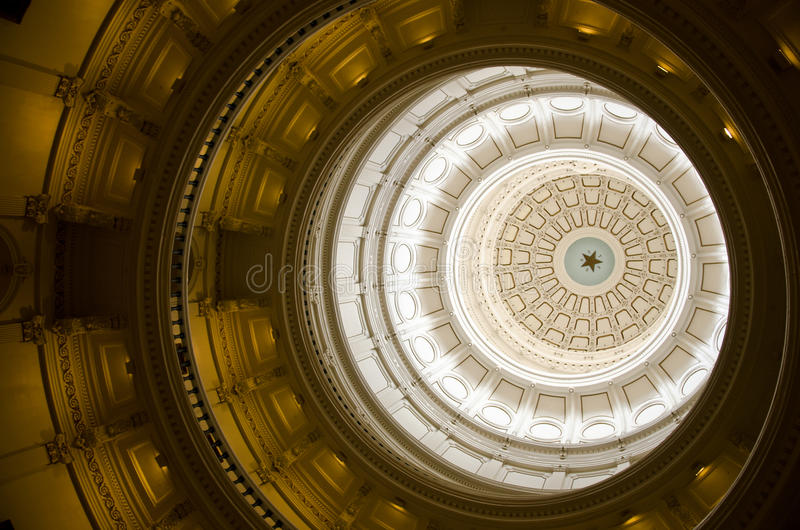 Interior look at Texas State Capitol dome stock photo
