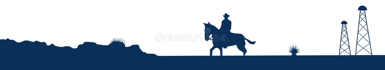 Texas skyline. Illustration of the typical skyline of the Great State of Texas: cowboy, desert and oil pump
