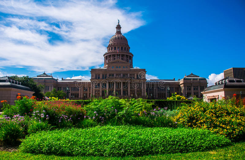 Texas State Capital Building Austin Colorful Flowers. Shows off the amazing landscape of the spring flowers here in central texas. the Governmental building stock images