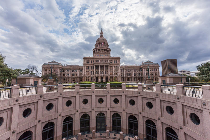 Texas state capital building in cloudy day, Austin stock photos