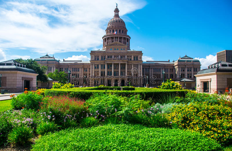 Texas State Capital Building Spring Flowers Austin. Historic monument and tallest capitol building outside of washington DC. The Austin Capital building stands royalty free stock photography