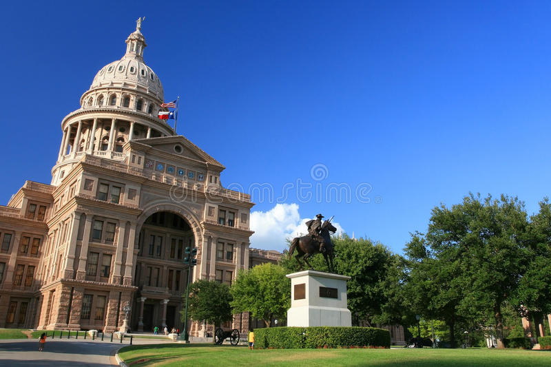 The Texas State Capitol Building against blue sky stock image