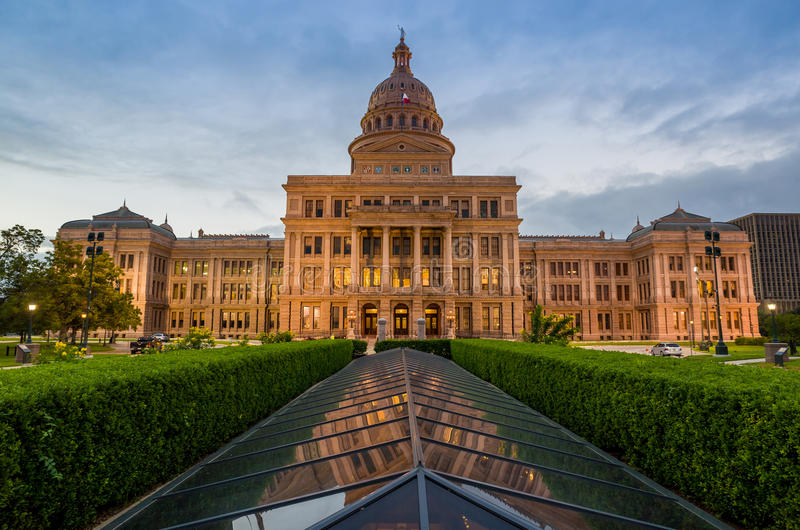 Texas State Capitol Building i Austin, TX arkivbilder