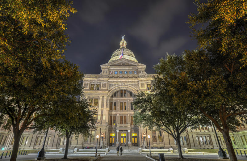 Texas State Capitol Building, Nacht royalty-vrije stock fotografie