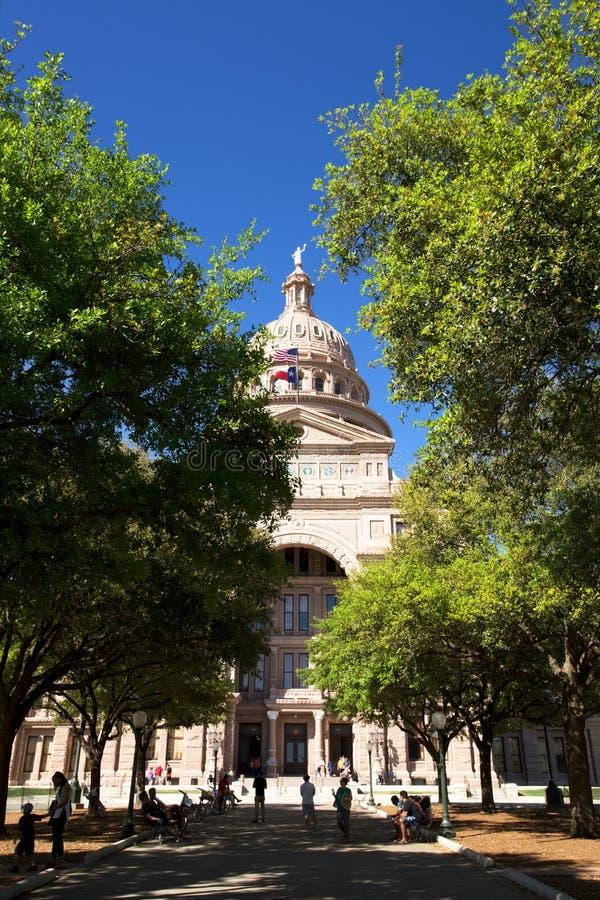 Texas State Capitol-de bouw in Austin tijdens de lente stock afbeeldingen