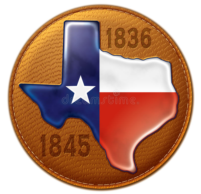 Texas State Flag Map Leather. Shiny dimensional representation of Texas flag and state map on a stitched leather seal with imprinted years of independence and royalty free illustration