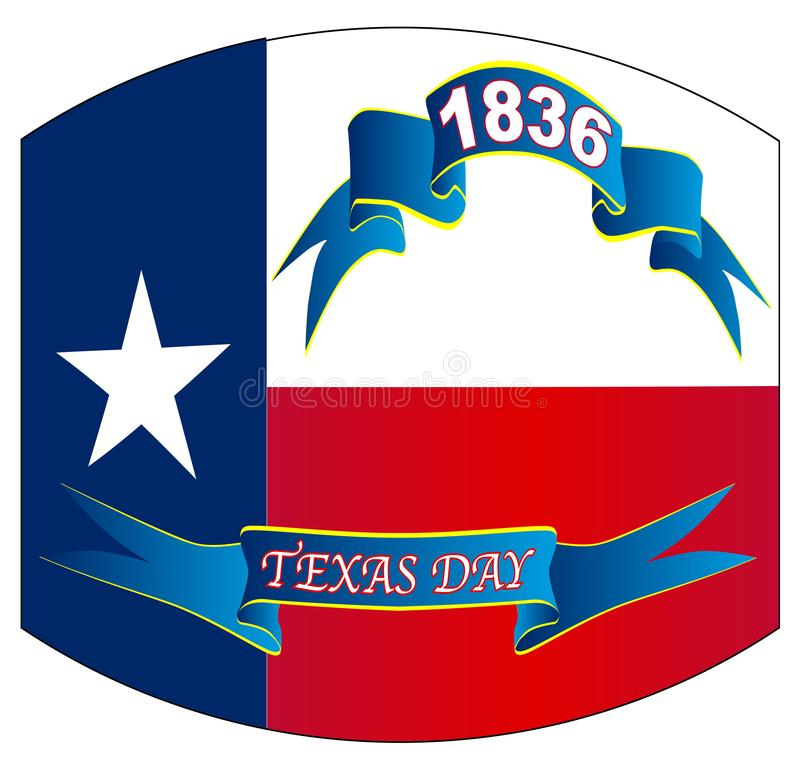 Texas State Flag For Texas-Scheefgetrokken Dag royalty-vrije illustratie