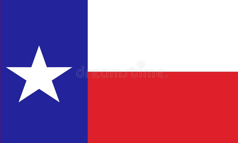 Texas state flag. State of united states of America flag stock illustration