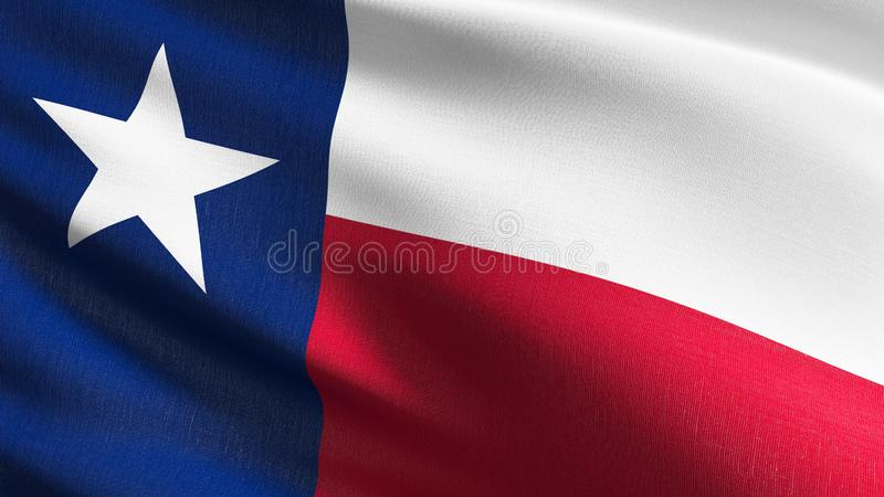 Texas state flag in The United States of America, USA, blowing in the wind isolated. Official patriotic abstract design. 3D. Rendering illustration of waving vector illustration