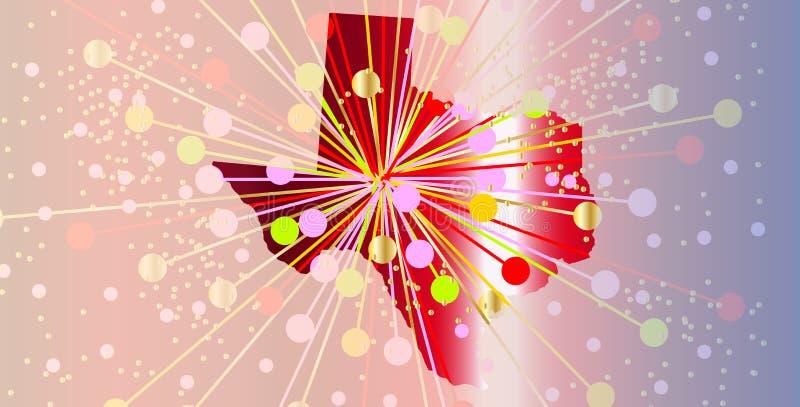 Texas State Map Abstract Celebration illustrazione vettoriale