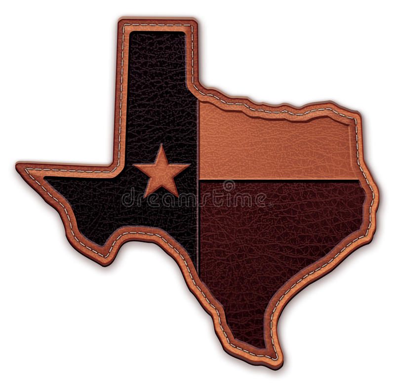 Texas State Map Flag Leather Patch vector illustration