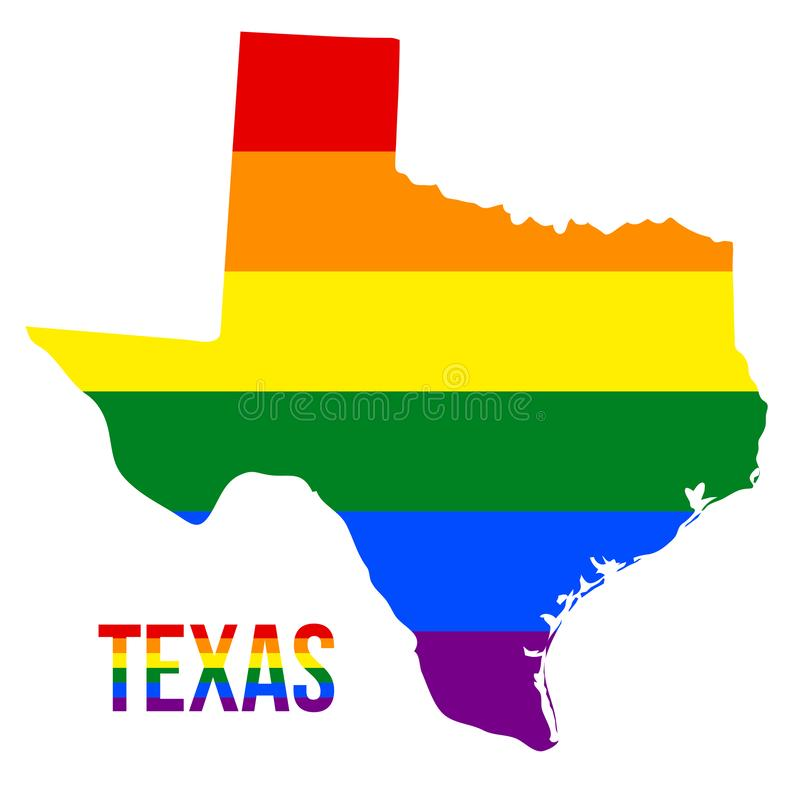Texas State Map in LGBT Rainbow Flag Comprised Six Stripes With Texas LGBT Text. The Flag Comprised Six Stripes; Meaning to Each of The Colors: Life, Healing stock illustration