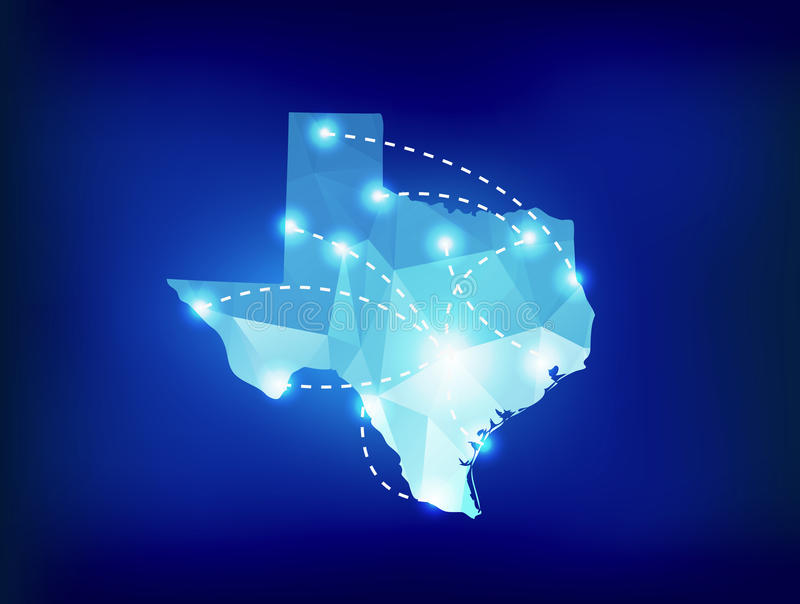 Texas state map polygonal with spotlights places. Sample stock illustration