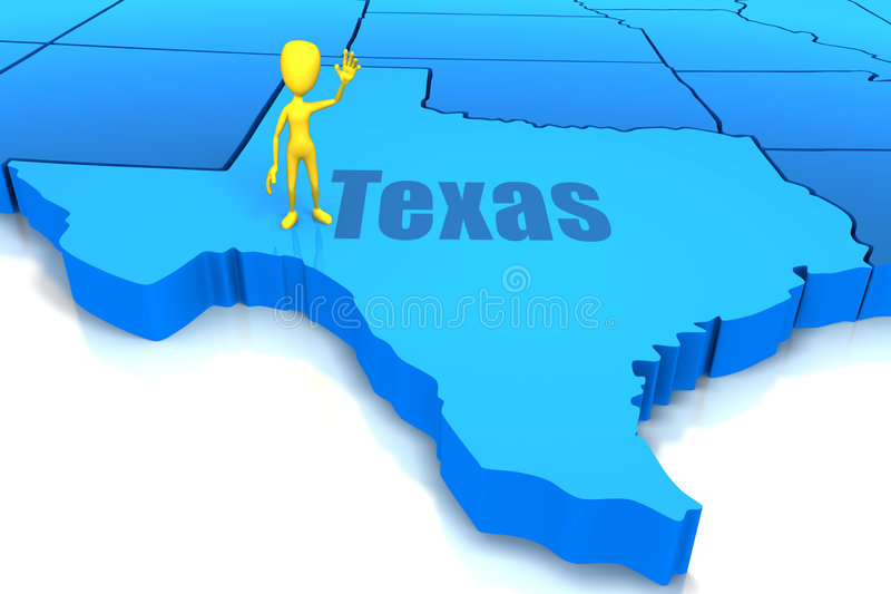Download Texas State Outline With Yellow Stick Figure Stock Illustration - Image: 9181868