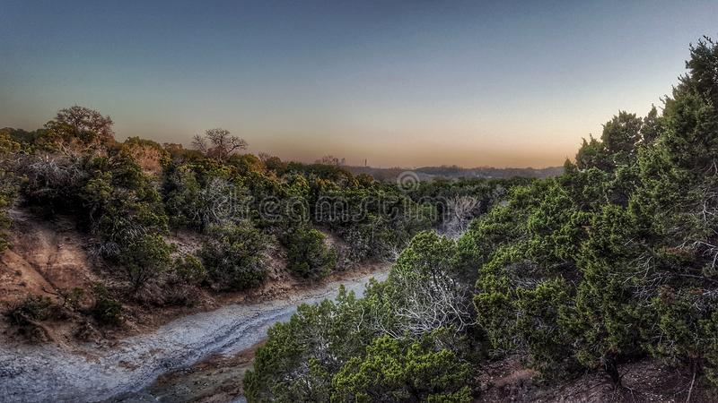 Texas state park sunset. Evening at Cleburne state park royalty free stock image