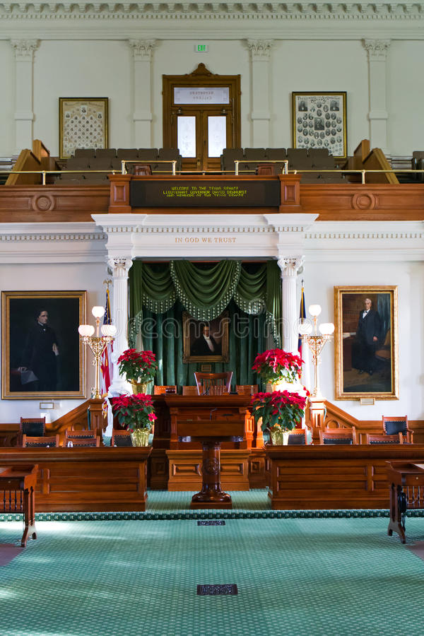 Texas State Senate. Interior of Texas state Senate chamber in the Texas state Capitol in Austin stock photo