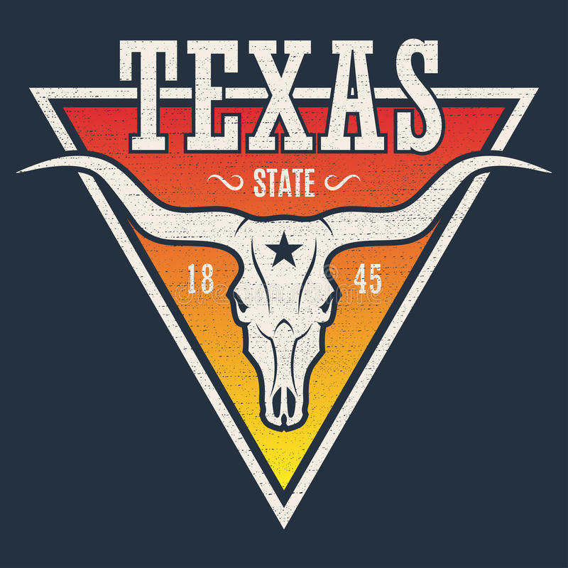 Texas state tee print with longhorn skull. vector illustration
