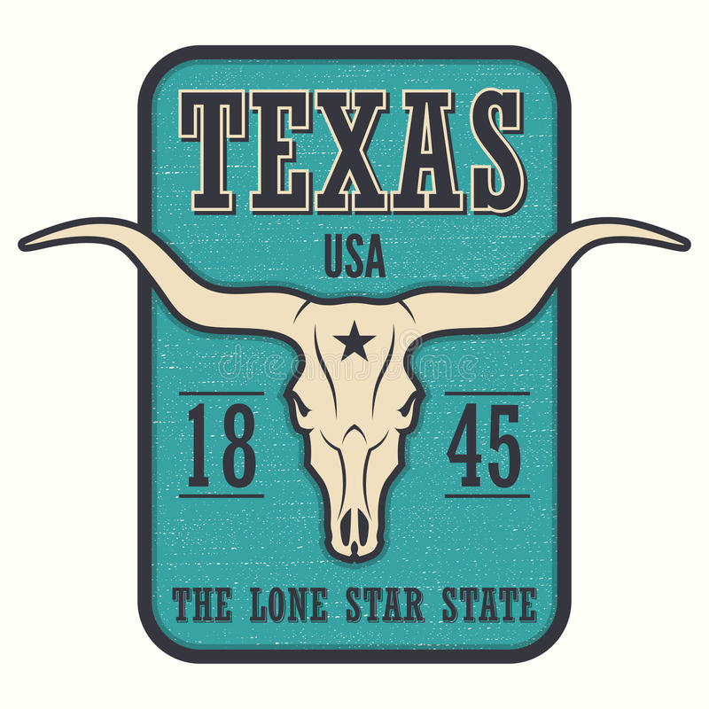 Texas state tee print with longhorn skull. stock illustration