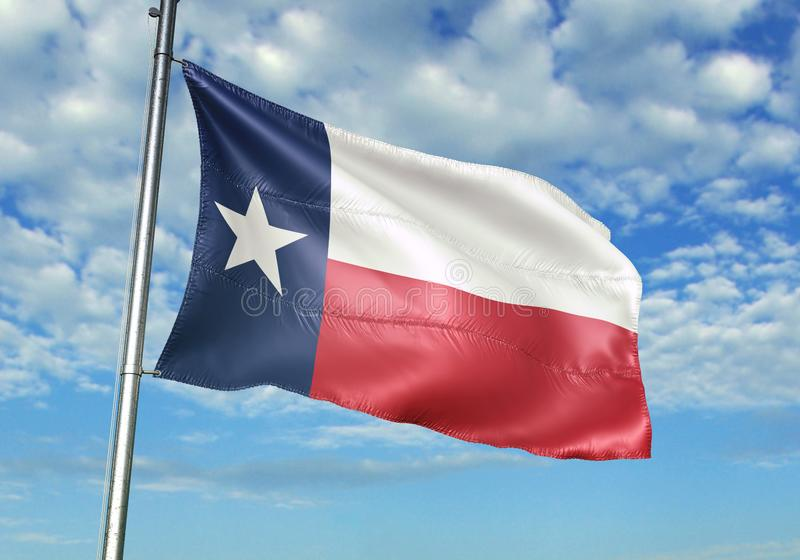 Texas state of United States Flag waving with sky on background realistic 3d illustration. Texas state of United States Flag on flagpole pole waving with sky on vector illustration