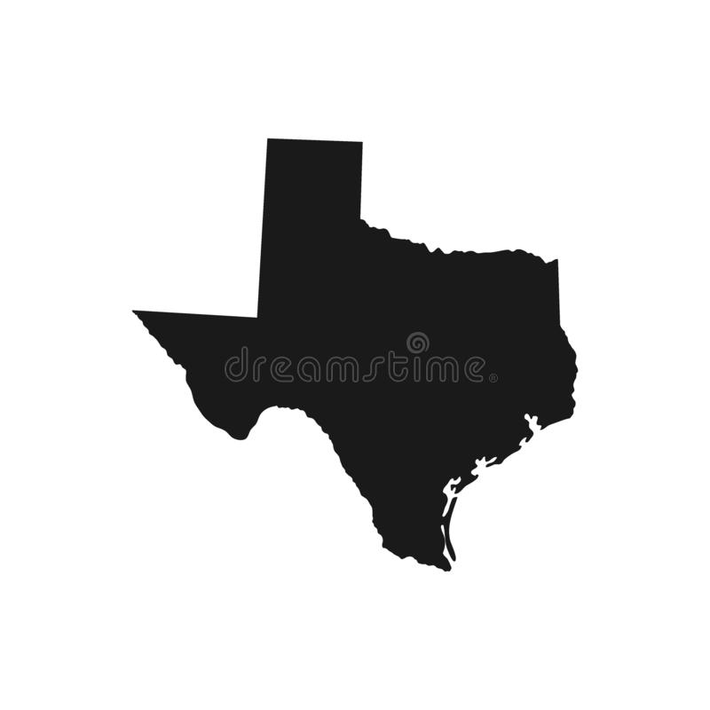 Texas, state of USA - solid black silhouette map of country area. royalty free illustration