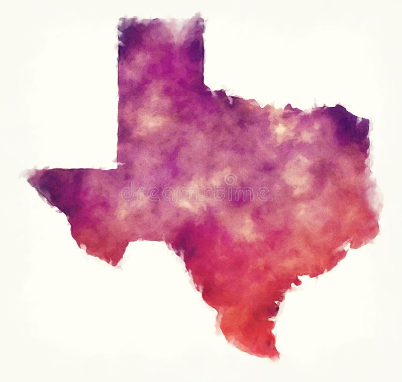 Texas state USA watercolor map in front of a white background. Illustration stock illustration