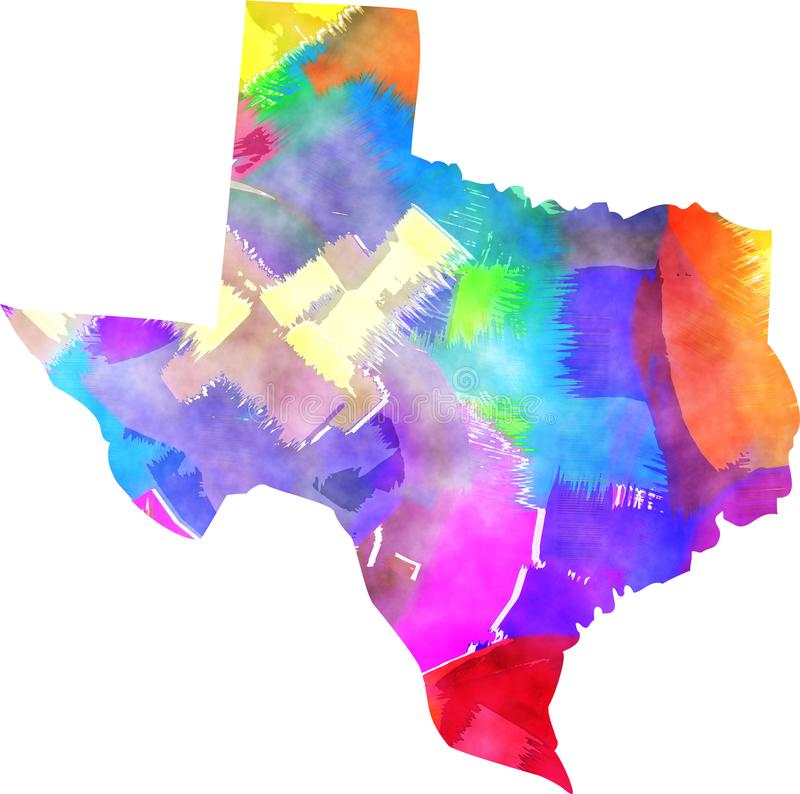 Texas State Watercolor Map Border illustrazione vettoriale