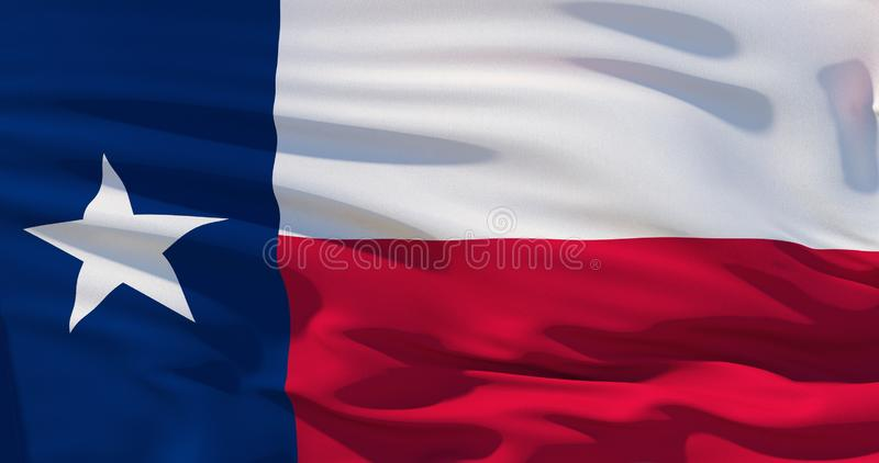 Texas state waving flag, United States of America. 3d illustration. High quality render vector illustration