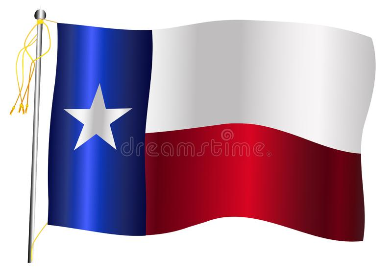 Texas State Waving Flag And-Vlaggestok royalty-vrije illustratie